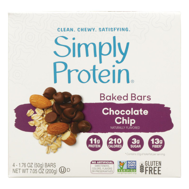 Simply Protein - Smply Protein Bar Cchip 4pk - Case Of 6 - 7.05 Oz