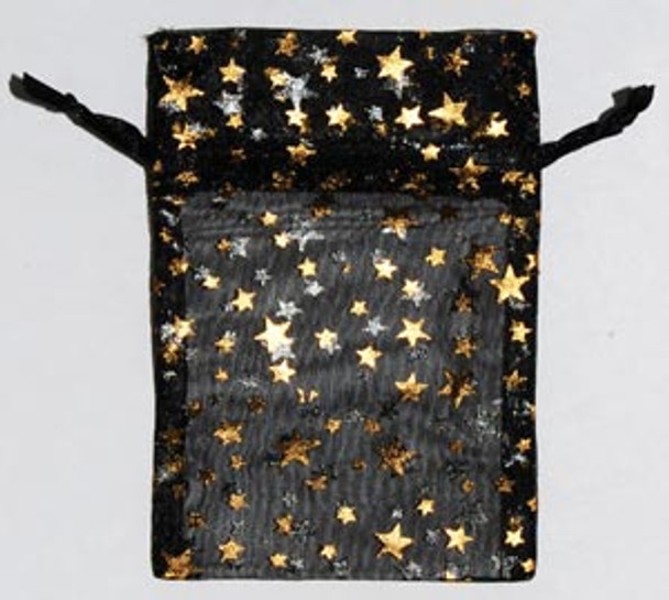 """2 3/4"""" X 3"""" Black Organza Pouch With Gold Stars"""