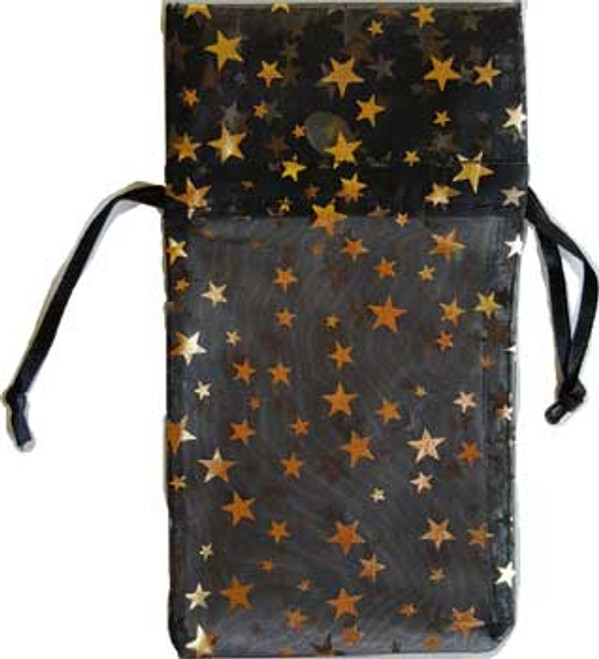 "3"" X 4"" Black Organza Pouch With Gold Stars"