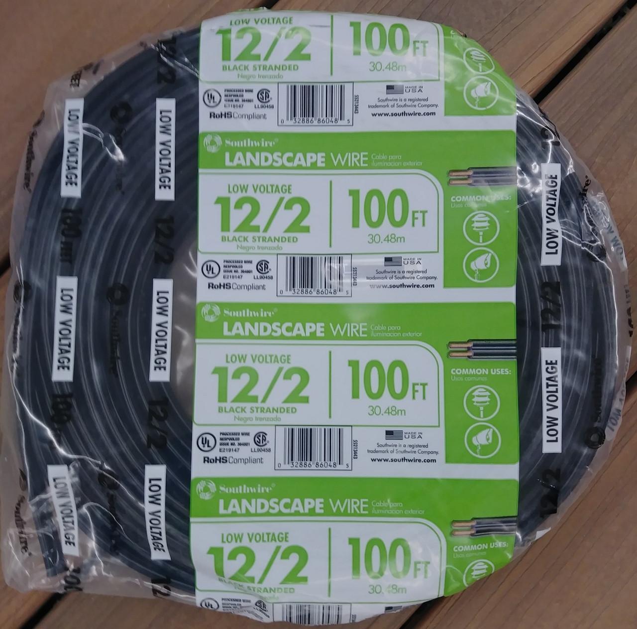Southwire Landscape Wire 100 ft. Low Voltage 12/2 Black Stranded