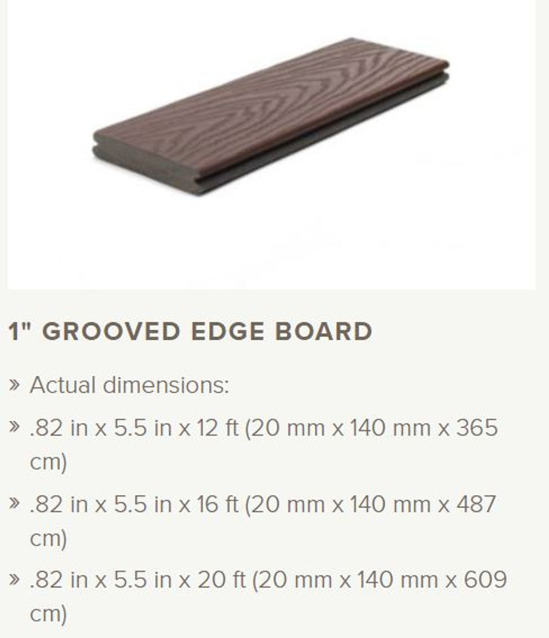 Trex Select Grooved Edge Decking Profile