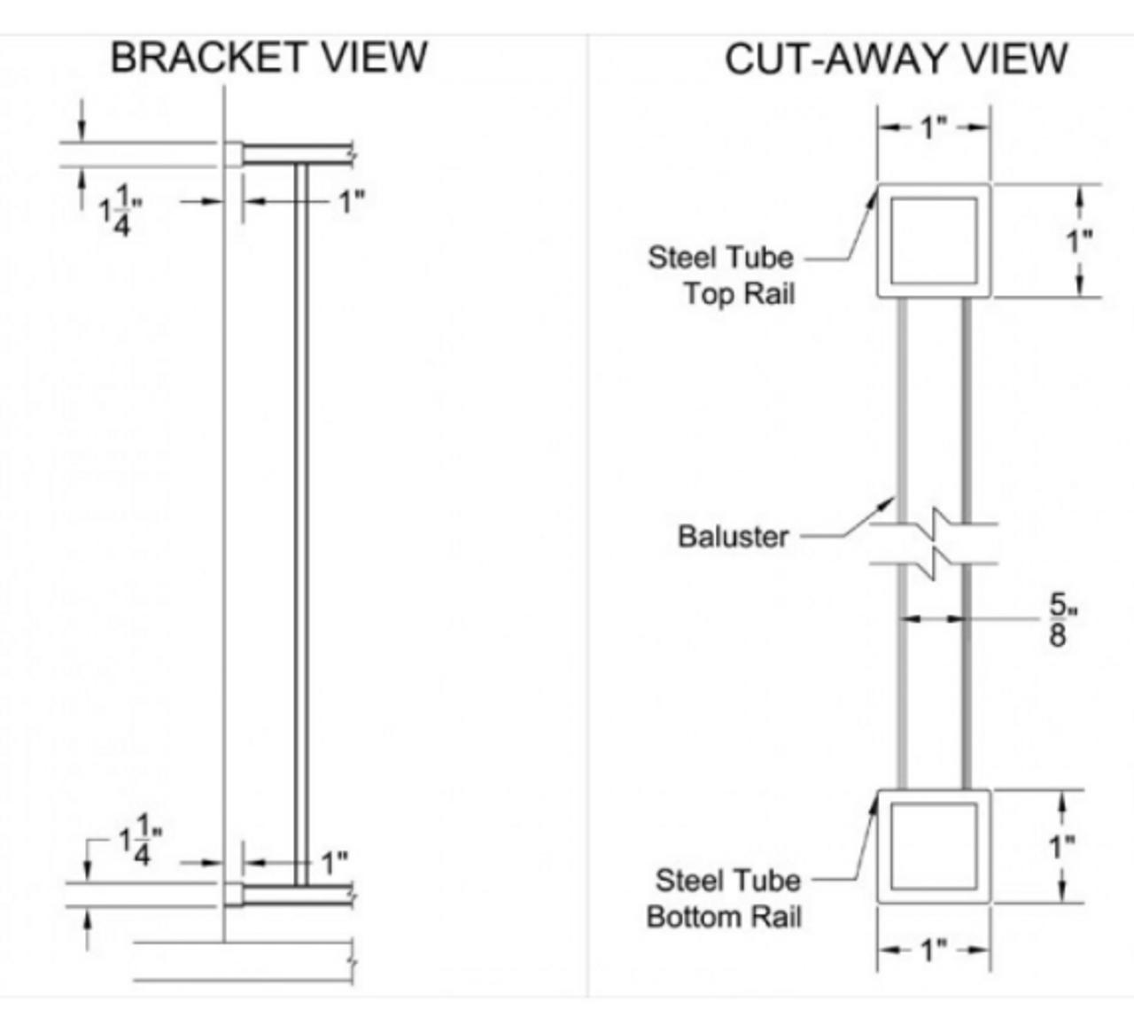 RDI Excalibur Steel Rail Panel Bracket and Profile Views