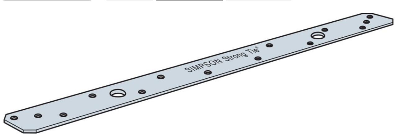 """MSTA18Z Simpson Strong-Tie Strap Tie 1-1/4"""" x 18"""" 18-Gauge"""