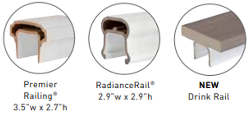 Customize with your choice of top rail, SOLD SEPARATELY.  Choose from Radiance Rail, Premier Rail, or a Drink Rail Adapter in combination with a deck board of your choice.