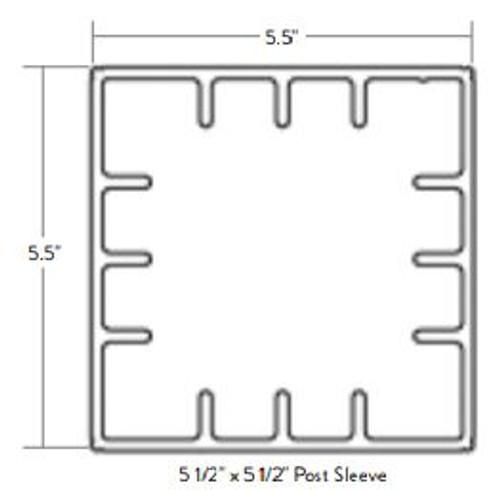 TimberTech Evolutions 5x5 Post Sleeve Diagram