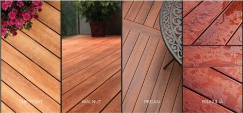 Zuri Decking Shown in Brazillia, Walnut, Pecan, and Chestnut