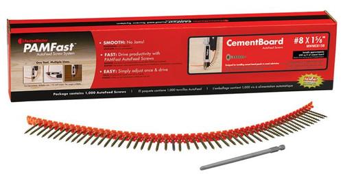 "PAMFast CementBoard AutoFeed Screws #8 x 1-5/8"" (1000)"