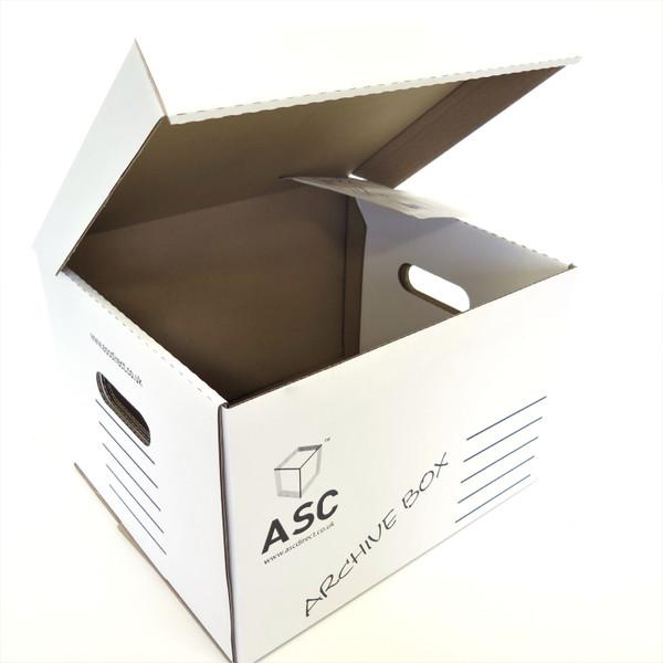 Closed white archive box