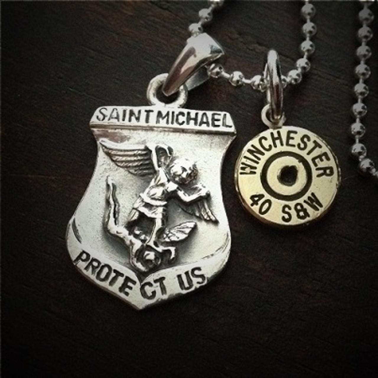 5fbfba1c1b5 Saint Michael Sterling Silver Bullet Necklace - JECTZ
