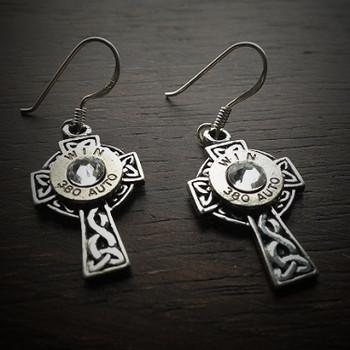 Celtic Cross Bullet Earrings