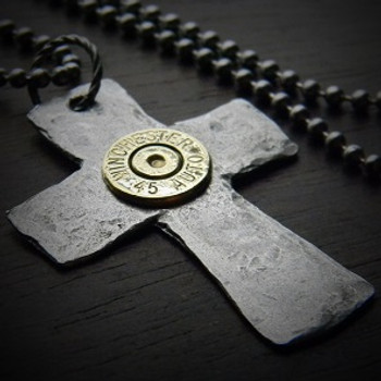 Hammered Cross Bullet Necklace