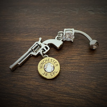Women's Gun Belly Bullet Ring in Stainless Steel