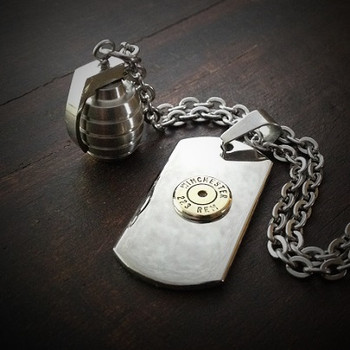 Dog Tag Grenade Bullet Necklace