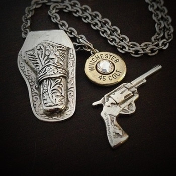 Holstered Bullet Necklace Open