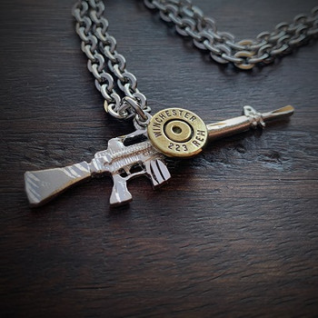 Men's Sterling Silver Rifle Bullet Necklace