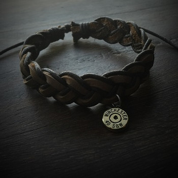 Brown Leather Bullet Bracelet