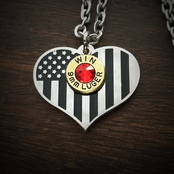 American Flag Heart Bullet Necklace 0060