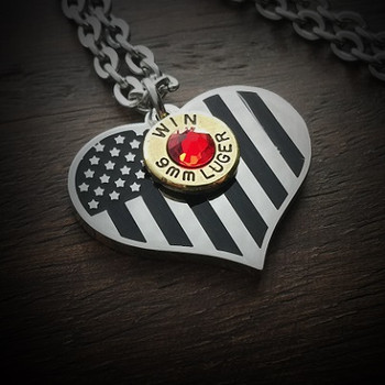 American Flag Heart Bullet Necklace 2