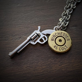 Men's Stainless Steel Gun Bullet Necklace