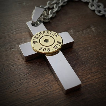 Perfect Cross Stainless Steel Bullet Necklace for Men 308 No Gem