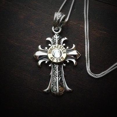 Fleur Cross Bullet Necklace