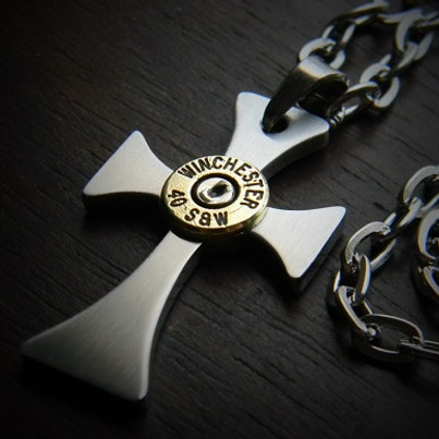 Forged Stainless Steel Cross Bullet Necklace For Men Jectz