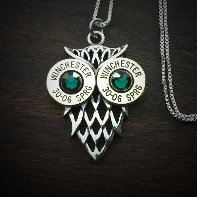 Owl Bullet Necklace Emerald