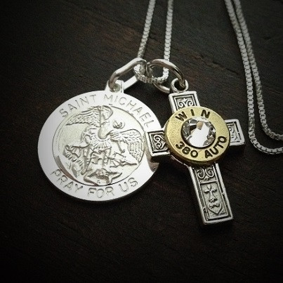 420d0b4d97a Saint Michael Cross Bullet Necklace in Sterling Silver - JECTZ
