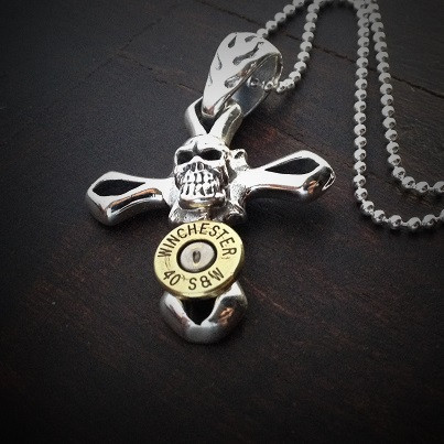 Skull Cross Bullet Necklace