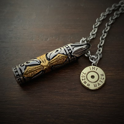 Etched Cross Bullet Necklace
