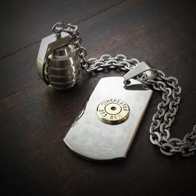 Dog Tag Grenade Bullet Necklace