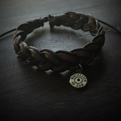 Brown Leather Bullet Bracelet