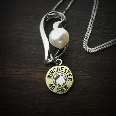 Piercing Pearl Bullet Necklace