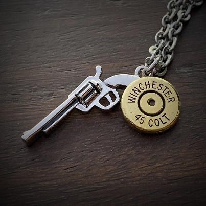 Men's Stainless Steel Gun Bullet Necklace