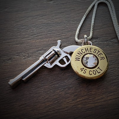 Women's Stainless Steel Gun Bullet Necklace
