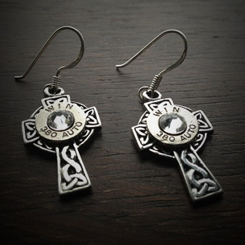 Celtic Cross Bullet Earrings
