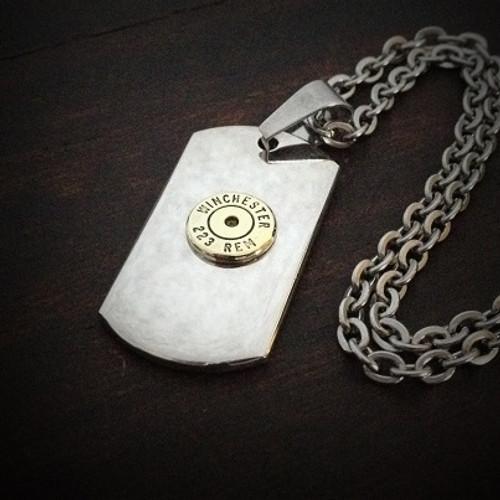 Dog Tag Bullet Necklace