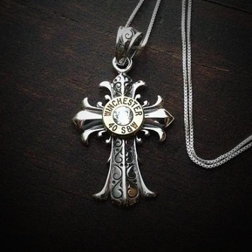 Fleur Cross Bullet Necklace 40