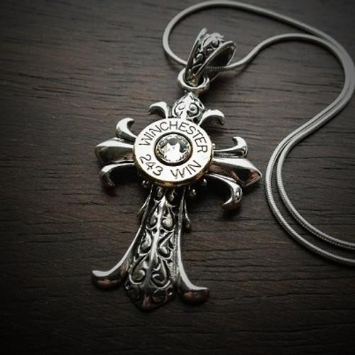 Fleur Cross Bullet Necklace 243