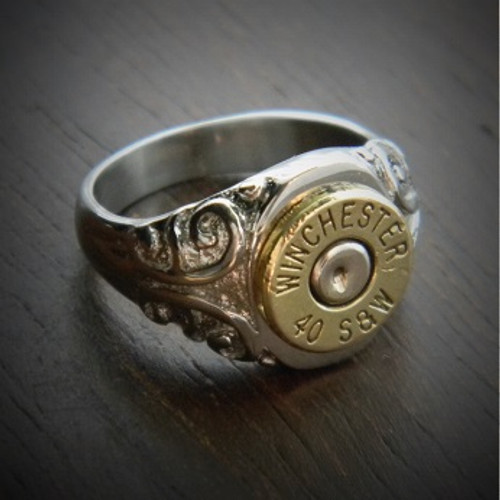 Women's Etched Bullet Ring