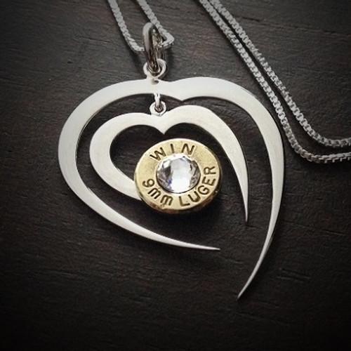 Piercing Heart Bullet Necklace