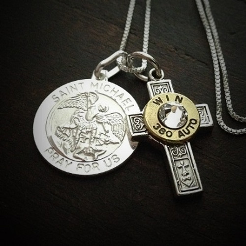 Saint Michael Cross Bullet Necklace