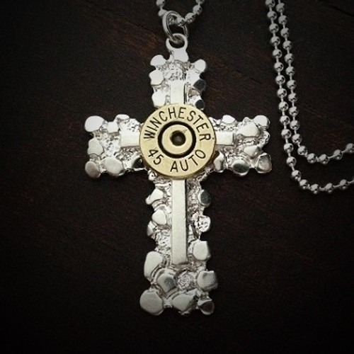Nugget Cross Bullet Necklace for Men
