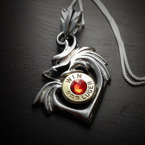 Dragon Heart Bullet Necklace