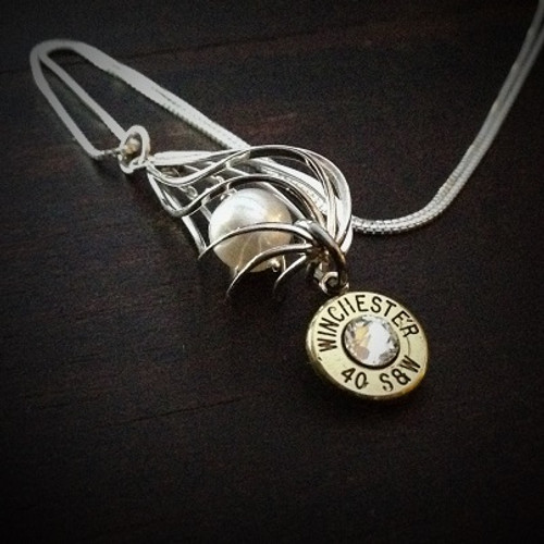 Floating Pearl Bullet Necklace