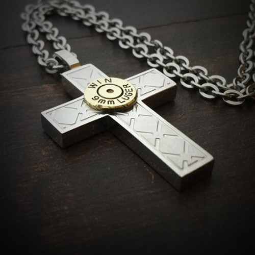 Branded Cross Stainless Steel Bullet Necklace for Men