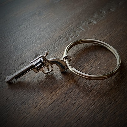 Stainless Steel Revolver Gun Keychain