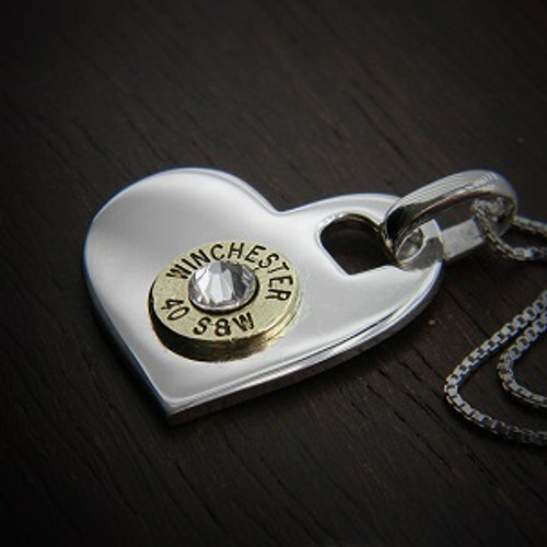 I Heart You Bullet Necklace in Sterling Silver