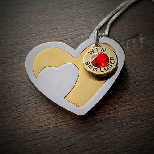 Beating Heart Bullet Necklace in Stainless Steel 9mm W/Gem