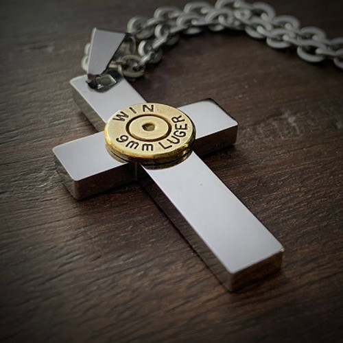 Perfect Cross Stainless Steel Bullet Necklace for Men 9mm No Gem